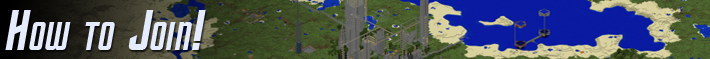 Section: How to Join!  Background consists of a very zoomed-out aerial view of part of the server's world.