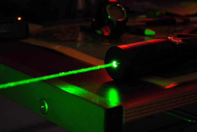 File:High Power Green Laser, Dark Background (from Flickr).jpg